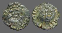 Ancient Coins - Fernando II of Navarra billon dinero. Crowned 'F' / Short Cross