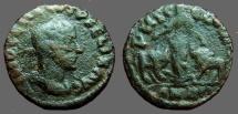 Trajan Decius AE24 Moesia w. bull & lion.  Viminacium, M.I.