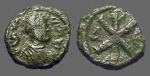 Ancient Coins - Justin I AE13 Pentanummium.  Chi Rho symbol