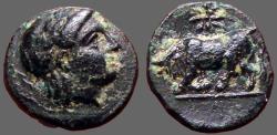 Ancient Coins - Gambrion, Mysia. AE12. Apollo / Bull butting