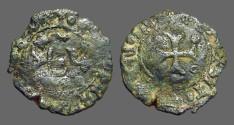 World Coins - Fernando II of Navarra billon dinero. Crowned 'F' / Short Cross