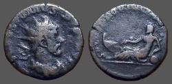 Ancient Coins - Postumus AE21 Antoninianus.  Rhine,reclining left and resting on urn, forepart of galley
