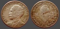 World Coins - Cuba AR24 (25) Centavos 1953. Bust left / Liberty cap on post,