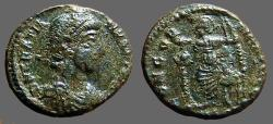 Ancient Coins - Gratian AE3 Roma seated w. globe & Spear Antioch.