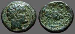 Ancient Coins - Spain, Bolskan, Osca.  AE18 Male head / Horseman w. spear