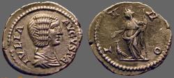 Ancient Coins - Julia Domna AR Denarius.  Juno w. sceptre.  peacock