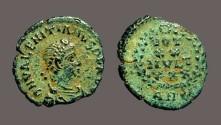 Ancient Coins - Valentinian II AE4 VOT/xX/MVLT/XXX. Antioch, Turkey.