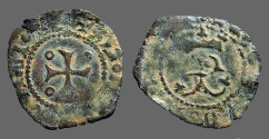 World Coins - Fernando II of Navarra billon dinero. Crowned F / Cross w. pelletes in quartiles