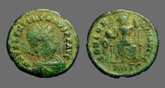 Ancient Coins - Valentinian II AE3  Constantinopolis seated w. globe & spear.