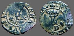 World Coins - Fernando V & Isabella, 18mm billon Blanca. 1474-1504 AD.