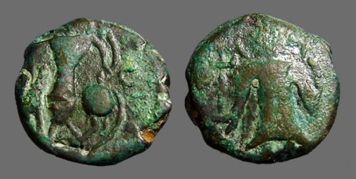 World Coins - Kushan Vashishka AE18 Unit Pushkalavati.  Kushan King stg / Ardhoksho seated