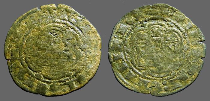 World Coins - Enrique III billon 24mm blanca (2 Cornados) 3 towered castle / Lion rampant left.