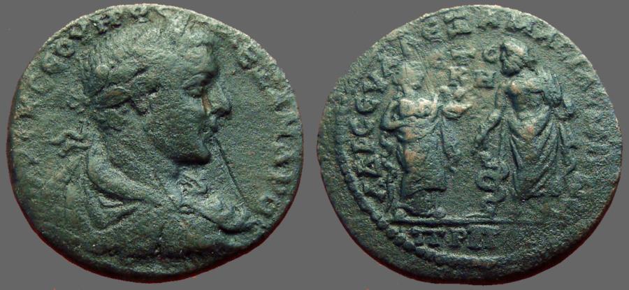 Ancient Coins - Severus Alexander AE32 Amasia, Pontus.  Akslepios & Hygeia