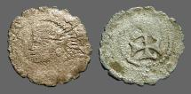 Ancient Coins - Aragon AE17 billon Dinar - Carlos II of Austria. Bust left / Patriarchal Cross