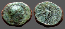 Ancient Coins - Antiochus III AE10 Hd of Apollo / Apollo standing left, holds arrow and bow.