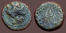 Ancient Coins - Cilicia, Tarsos AE19 Turreted hd. of Tyche , countermark Helios / Pyre of Sandan