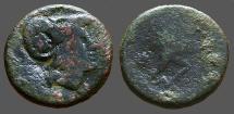 Ancient Coins - Kings of Macedon, Antigonos Gonatas Æ19 Hd of Athena w. countermark / Pan erecting trophy
