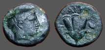 Ancient Coins - Macedon, Tragilos. hd of Hermes rt, w. petasos / Rose; grape cluster right. w. TRAGLI-W-N
