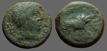 Ancient Coins - Spain, Castulo. AE18 Male head rt / Boar running rt