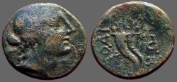 Ancient Coins - Phrygia, Laodikeia AE19 Aphrodite / parallel cornucopia bound w. fillet
