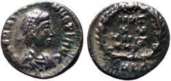 Ancient Coins - Valentinian II AE4 Vows in wreath.  VOT/XX/MVLT/XXX.