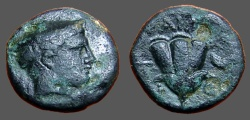 Ancient Coins - Macedon, Tragilos. hd of Hermes rt, w. petasos / Rose; grape cluster right. w. TRAGLI-W-N