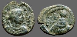 Ancient Coins - Justin I AE Pentanummium. Tyche of Antioch in shrine, River God below