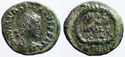 Ancient Coins - Valentinian II AE4 Vows in wreath.  VOT/X/MVLT/XX.
