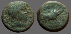 Ancient Coins - Spain, Castulo. AE18 Male head rt / Boar running rt