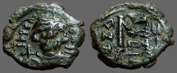 Ancient Coins - Constans II AE22 follis.  Facing bust w. globus cruciger / M.  E officiana.  Constantinople