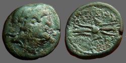 Ancient Coins - Sicily, Kentorpai AE16 tetrachalkon.  Zeus / Thunderbolt