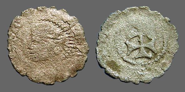 Ancient Coins - Aragon AE17 billon Dinar - Carlos II of Austria. Bust left / Patriarchal Cross