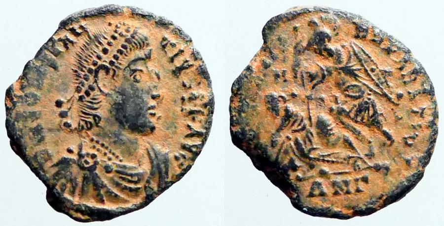 Ancient Coins - Constantius II AE3 soldier spearing fallen horseman left.  Antioch