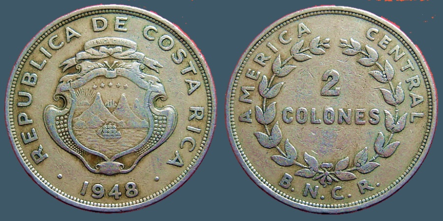 World Coins - Costa Rica 2 Cents 1948  32mm