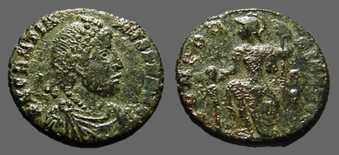 Ancient Coins - Gratian AE3 Constantinopolis seated w. globe & Spear.