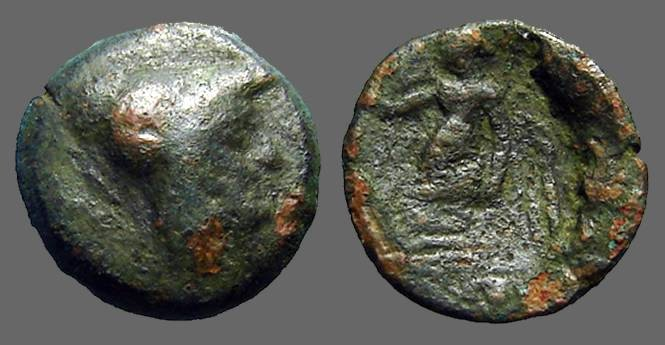 Ancient Coins - Pamphylia, Side AE17 Head of Athena wearing crested Corinthian helmet Nike