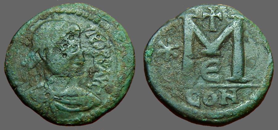 Ancient Coins - Anastasius AE23 Small module Follis.  Constantinople