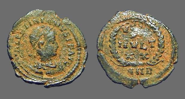 Ancient Coins - Valentinian II AE4 VOT/X/MVLT/XX. Antioch, Turkey.