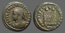 Ancient Coins - Constantine II AE3 Campgate