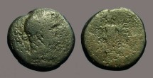 Ancient Coins - Domitian AE22, Ascalon, Tyche-Astarte on galley w. aphlaston, dove.
