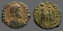 Ancient Coins - Arcadius AE3 (17mm) Victory holds wreath over Arcadius. Antioch, Turkey