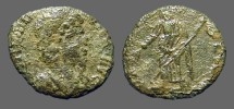 Ancient Coins - Helena AE4 PAX PVBLICA Pax stg holding branch and transverse sceptre