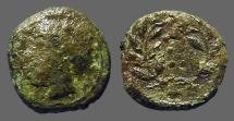 Ancient Coins - Himera, Sicily AE14 Hemilitron.  Hd of nymph Himera / 6 dots in wreath