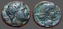 Ancient Coins - Thessaly, Phalanna Æ19 Dichalkon Youthful male head r. / Hd of nymph r., hair in sakkos.
