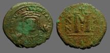 Maurice Tiberius AE27 Follis, Antioch.  Year 14