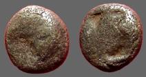 Ancient Coins - Aeolis, Kyme AR Hemiobol  Eagle head / Incuse pattern