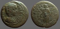 Ancient Coins - Julia Domna AE22 Lydia.  Asklepios w. serpent staff