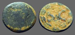 Ancient Coins - odd AE19 SC within laurel wreath.  Antioch on Orontes
