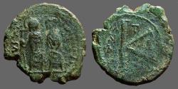 Ancient Coins - Justin II & Sophia AE 1/2 follis,Thessalonica.