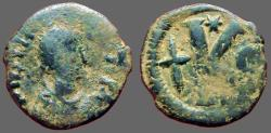 Ancient Coins - Justin I AE26 1/2 Follis.  Constantinople.  Long Cross.